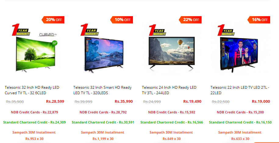 Discounted Prices on TV's
